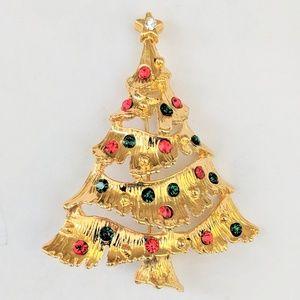 Jewelry - Vintage Rhinestone Christmas Tree Brooch Pin